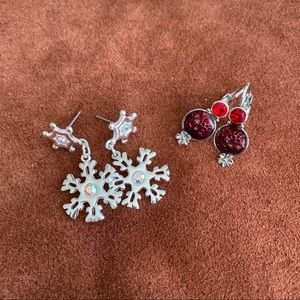 Two pairs of holiday earrings